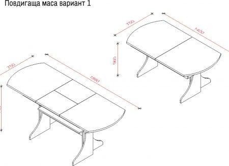 Повдигаща маса - вариант 1- зебрано